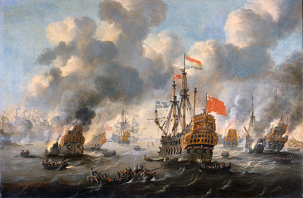 'The Dutch burn down the English fleet at Chatham' by Peter van de Velde